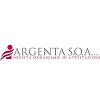 Logo argentea SOA, con simbolo e scritta Argentea SOA società organismo di attestazione