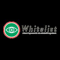 Logotipo Whitelist, un bollo verde con un'occhio interno il tutto bordato di rosso, scritta Whitelist